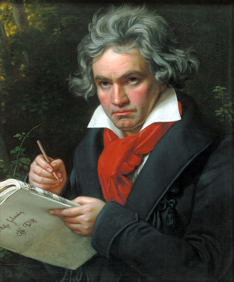 (Beethoven with the Missa solemnis, 1819, portrait by Joseph Karl Stieler - Photo public domain)