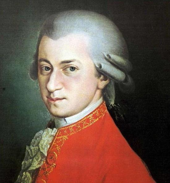 Wolfgang Amadeus Mozart, posthumous portrait by Barbara Krafft, 1819 (Wikimedia Commons)