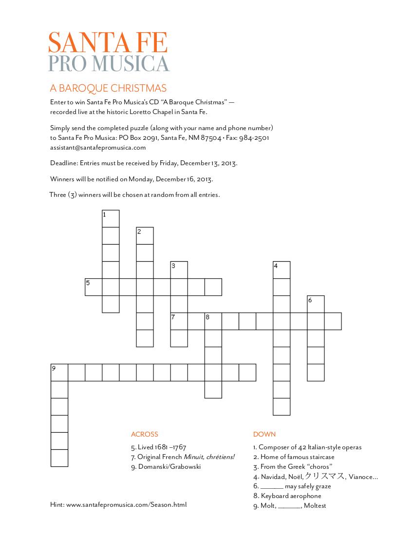 Puzzle Contest – A Baroque Christmas – Santa Fe Pro Musica